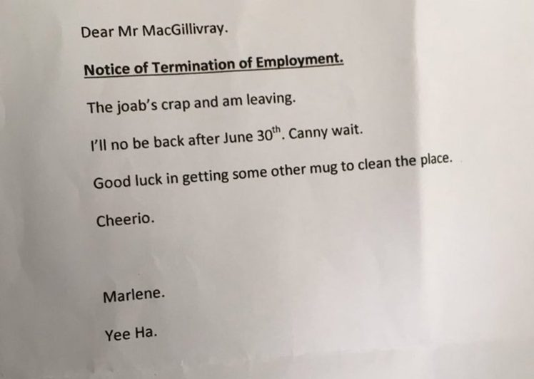 Granny writes brutal yet simply honest resignation letter hygo this isnt the only time that someone has handed in their resignation with a ruthless termination letter in 2011 a disgruntled employee working at a whole expocarfo