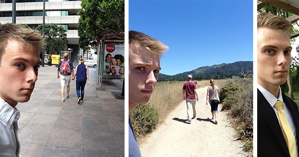 "He Took Pictures Of Himself As The ""Third Wheel"" For 3 Years Until It Happened"