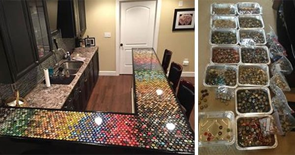 This Man Gathered Thousands Of Beer Caps For 5 Years To Remodel His Kitchen